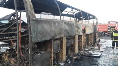 حریق اتوبوس مسافربری در تبریز