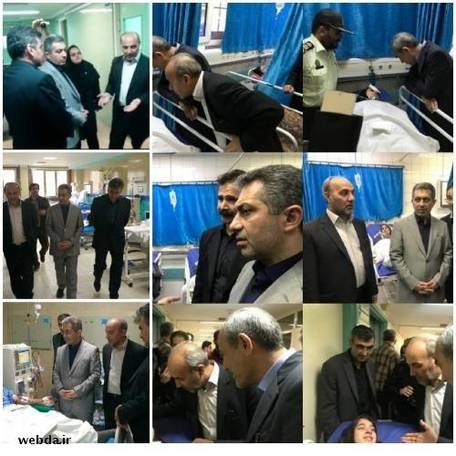 عیادت معاون درمان وزارت بهداشت از مصدومین حادثه اتوبوس دانش آموزان تبریز