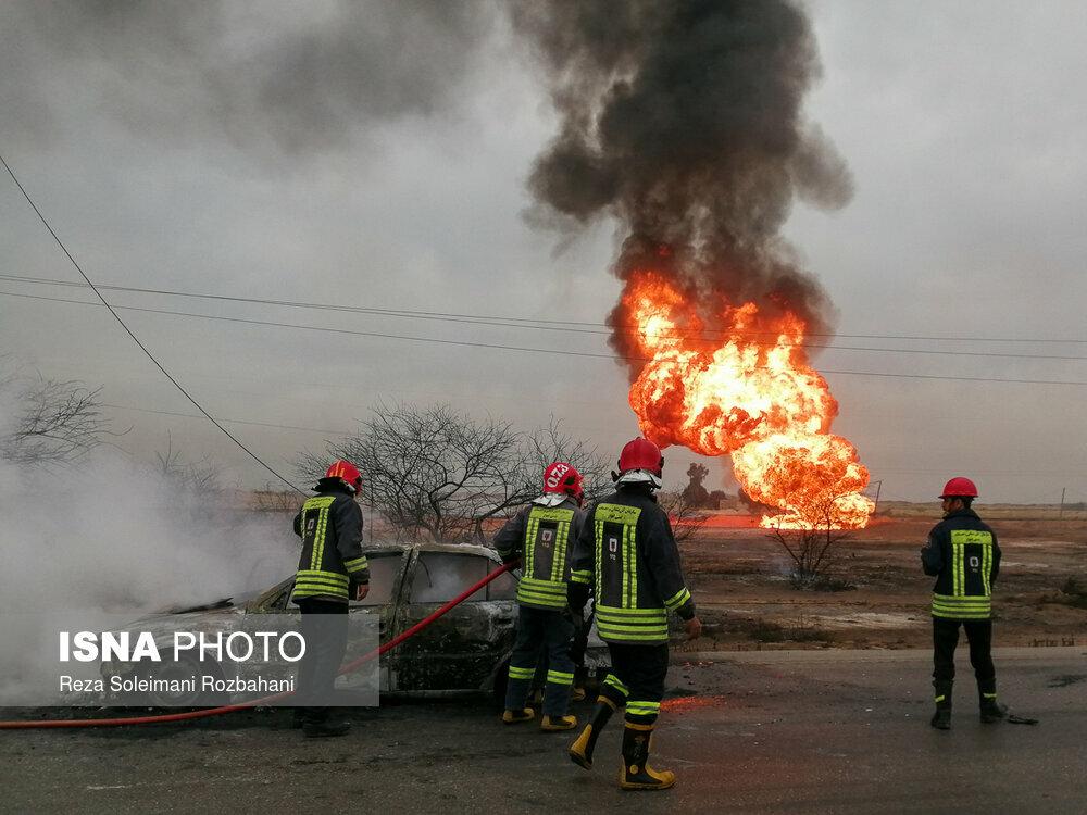 بازگشایی مسیر آزاد راه اهواز – ماهشهر پس از انفجار خط لوله گاز